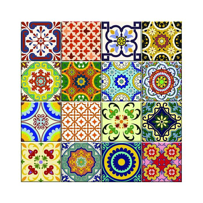 """4"""" x 4"""" Mediterranean Brights Mosaic Peel and Stick Removable Tiles - 382874. Picture 5"""