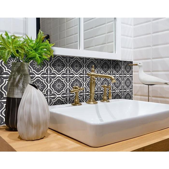 """4"""" X 4"""" Burst Gray and White Peel and Stick Removable Tiles - 382901. Picture 1"""