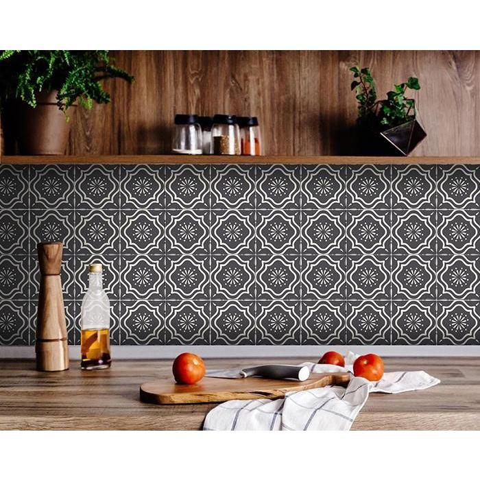 """4"""" X 4"""" Burst Gray and White Peel and Stick Removable Tiles - 382901. Picture 2"""