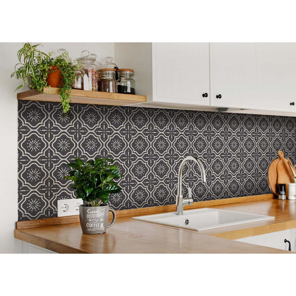 """4"""" X 4"""" Burst Gray and White Peel and Stick Removable Tiles - 382901. Picture 7"""