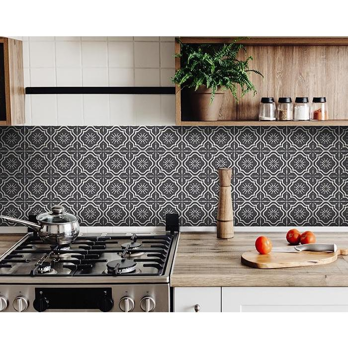 """7"""" X 7"""" Burst Gray and White Peel and Stick Removable Tiles - 382904. Picture 4"""
