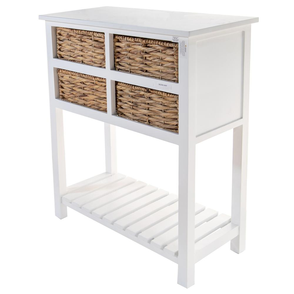 White 4 Drawer Accent Table with a Bottom Shelf - 383039. Picture 1