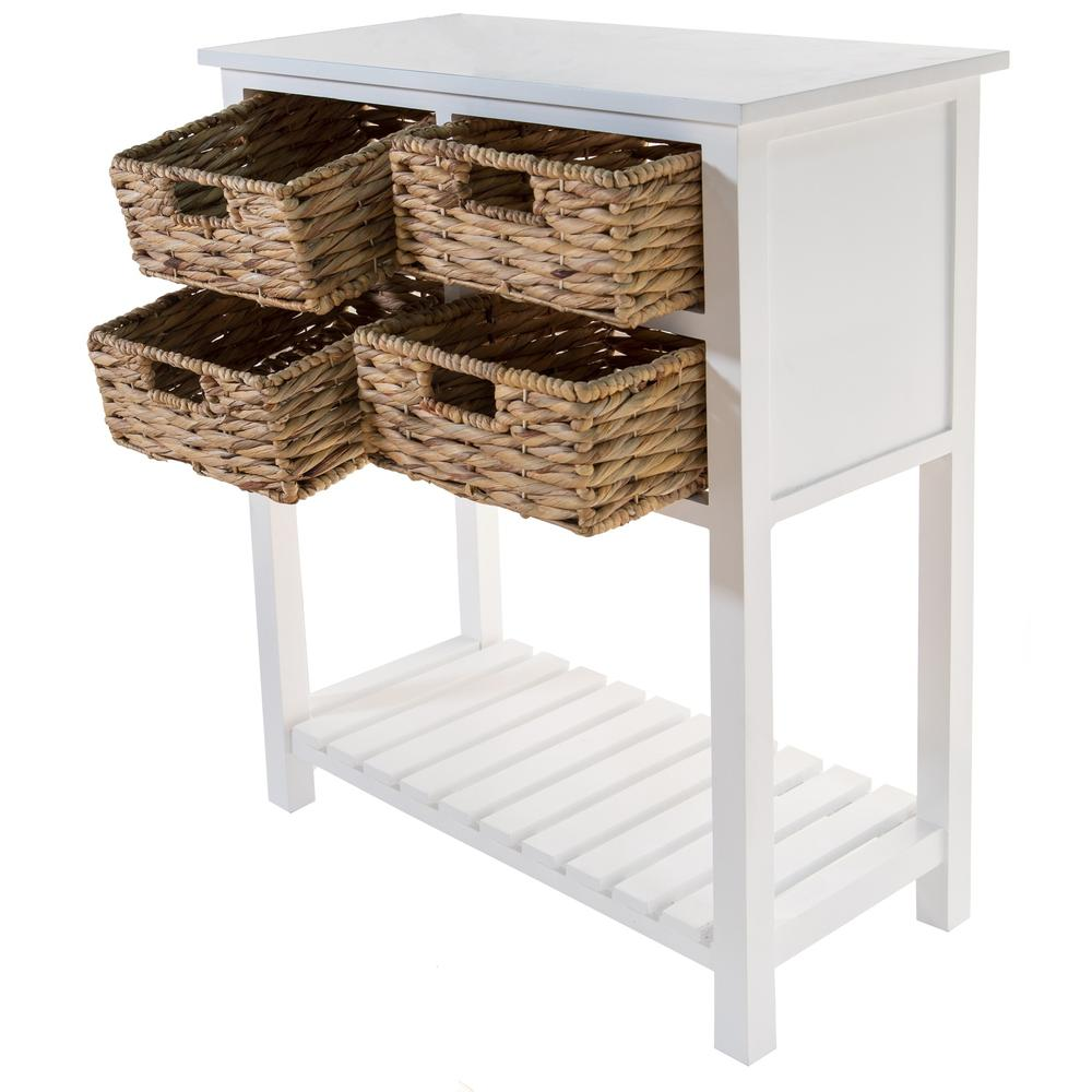 White 4 Drawer Accent Table with a Bottom Shelf - 383039. Picture 2