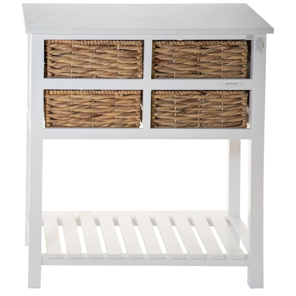 White 4 Drawer Accent Table with a Bottom Shelf - 383039. Picture 3