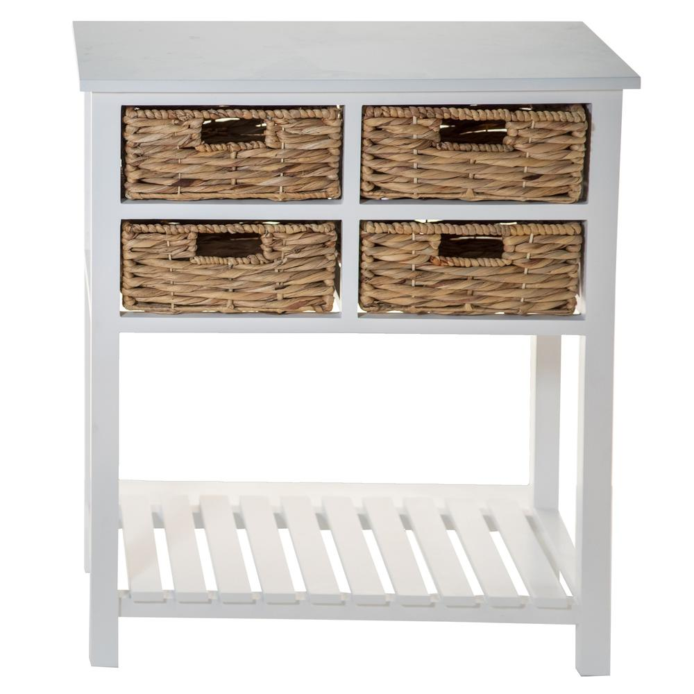 White 4 Drawer Accent Table with a Bottom Shelf - 383039. Picture 4
