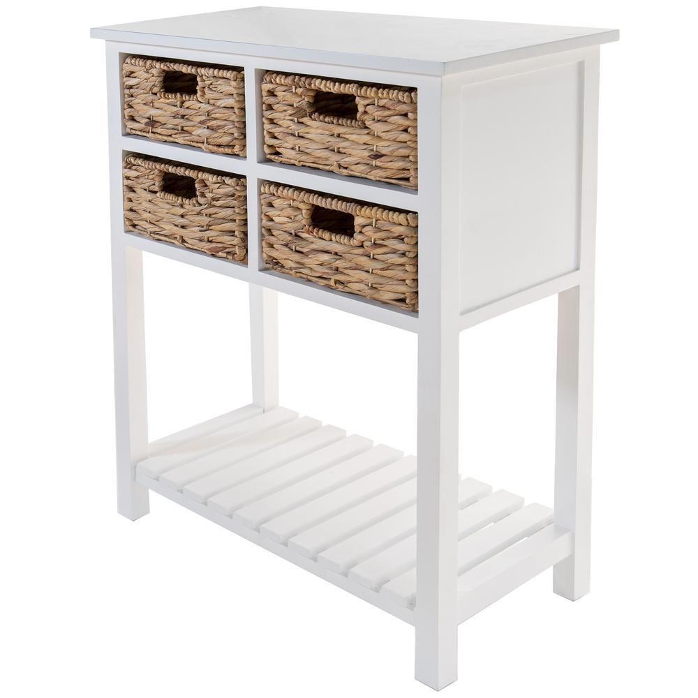 White 4 Drawer Accent Table with a Bottom Shelf - 383039. Picture 5