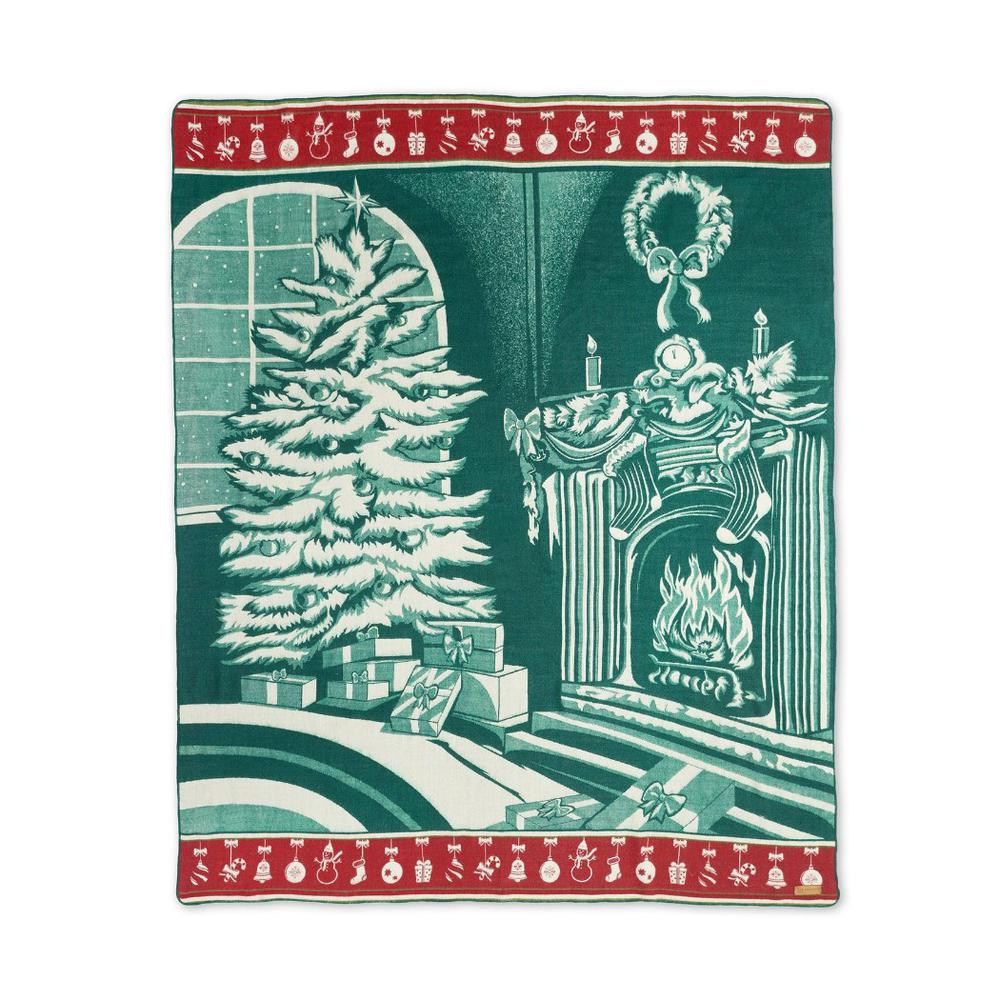 Queen Size Ultra Soft Green Christmas Handmade Woven Blanket - 383066. Picture 1