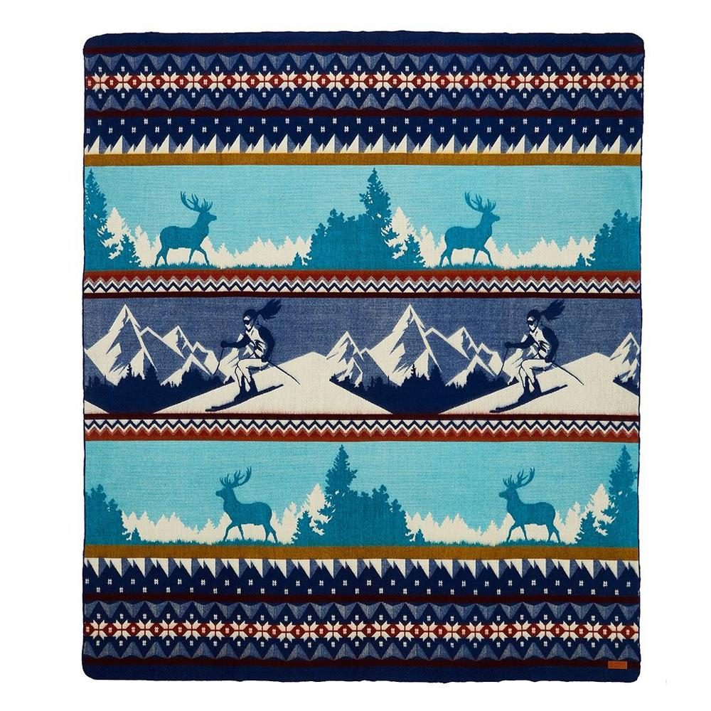 Queen Size Ultra Soft Blue Ski Mountain Handmade Woven Blanket - 383067. Picture 1
