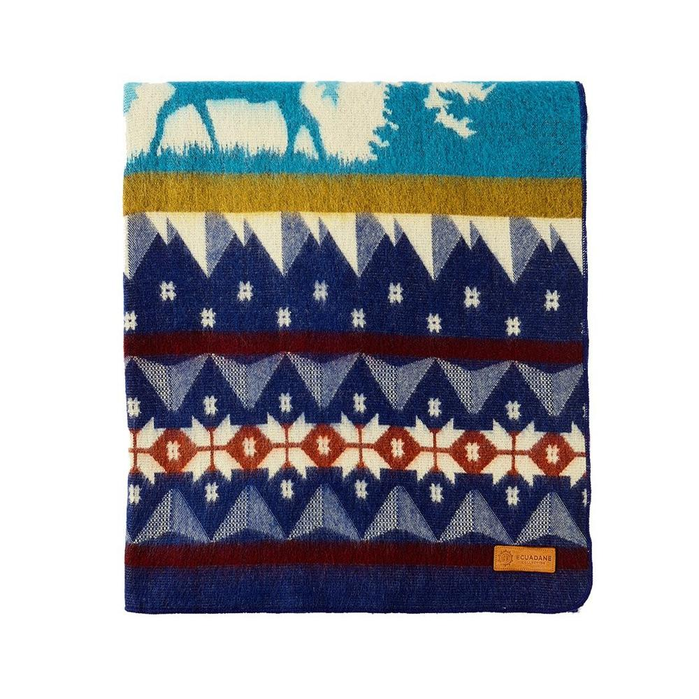 Queen Size Ultra Soft Blue Ski Mountain Handmade Woven Blanket - 383067. Picture 2