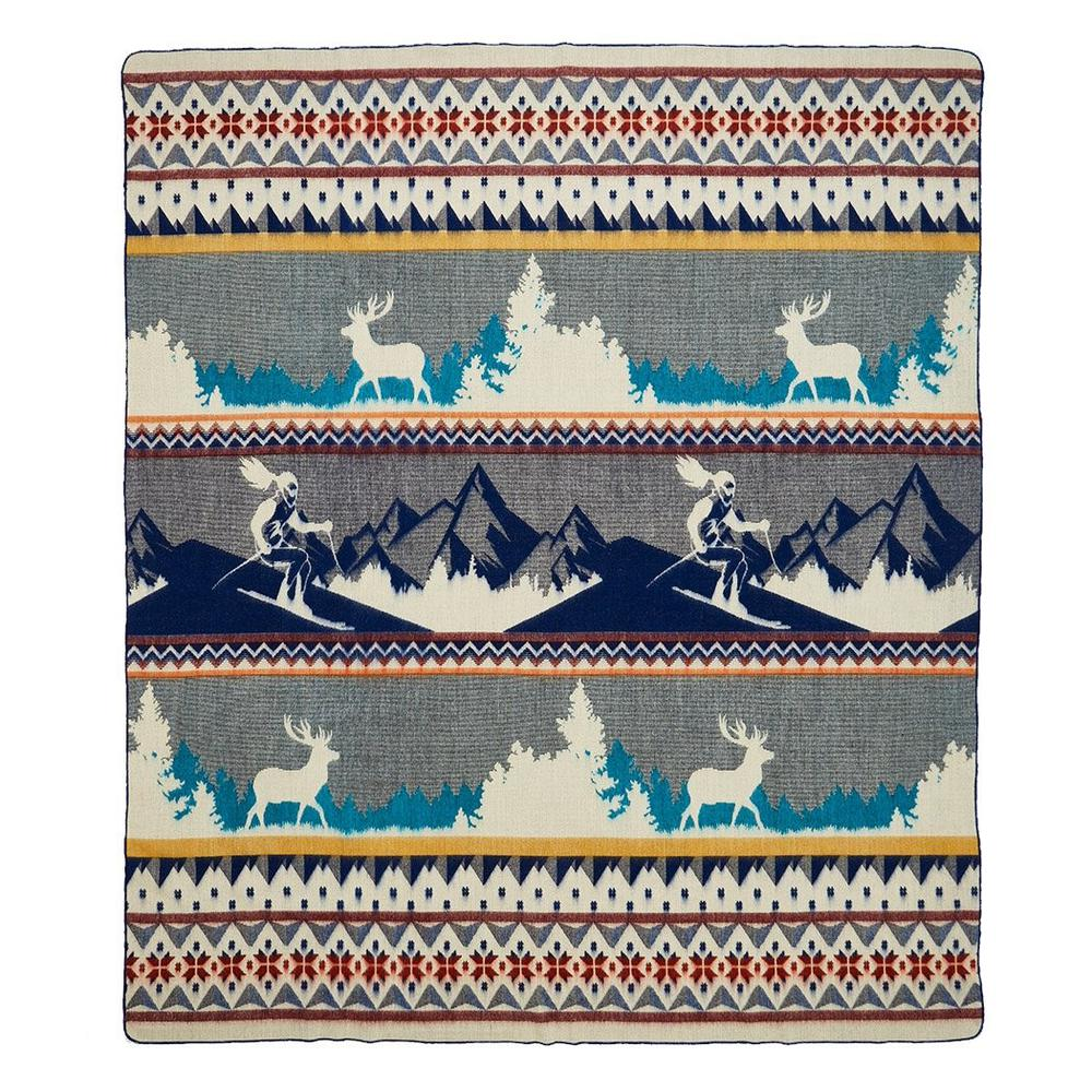 Queen Size Ultra Soft Blue Ski Mountain Handmade Woven Blanket - 383067. Picture 4