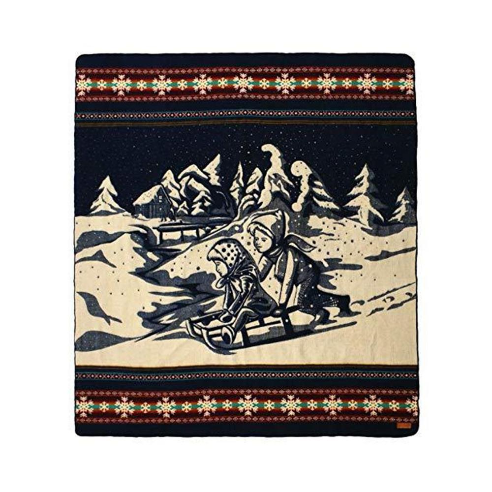 Queen Size Ultra Soft Young Sledders Handmade Woven Blanket - 383070. Picture 1