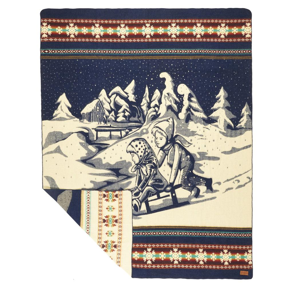 Queen Size Ultra Soft Young Sledders Handmade Woven Blanket - 383070. Picture 3