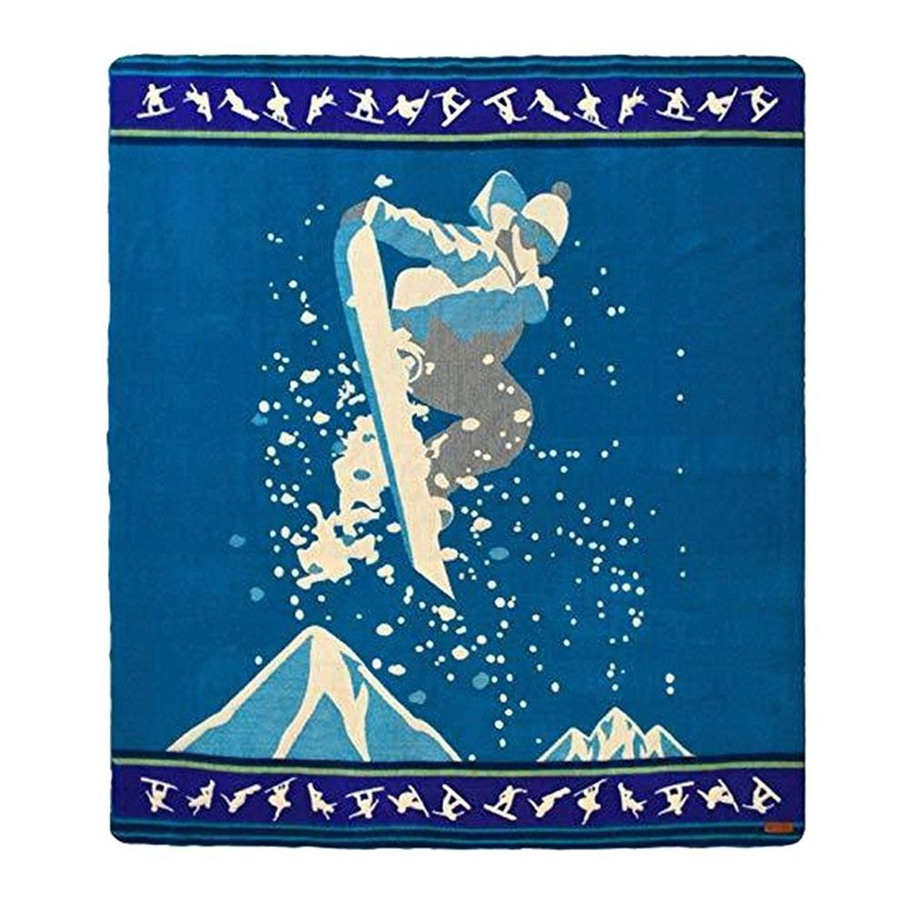 Queen Size Blue Ultimate Snowboarder Handmade Woven Blanket - 383071. Picture 1