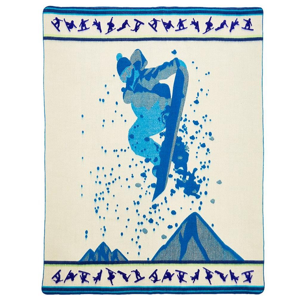 Queen Size Blue Ultimate Snowboarder Handmade Woven Blanket - 383071. Picture 2
