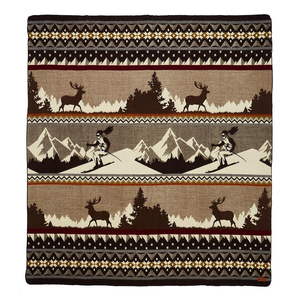 Queen Size Ultra Soft Brown Ski Mountain Handmade Woven Blanket - 383073. Picture 1