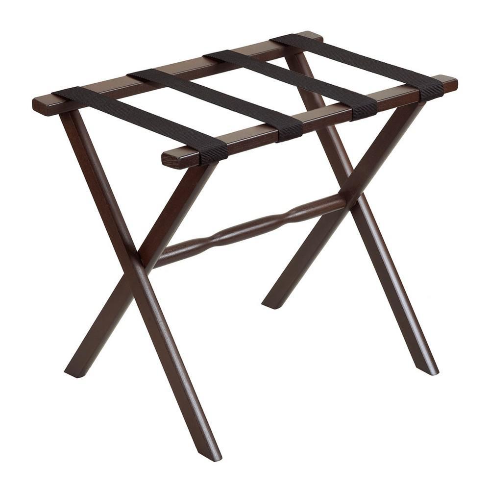 Hotel Dark Walnut Finish Wood Folding Luggage Rack with Tan Straps - 383081. Picture 1