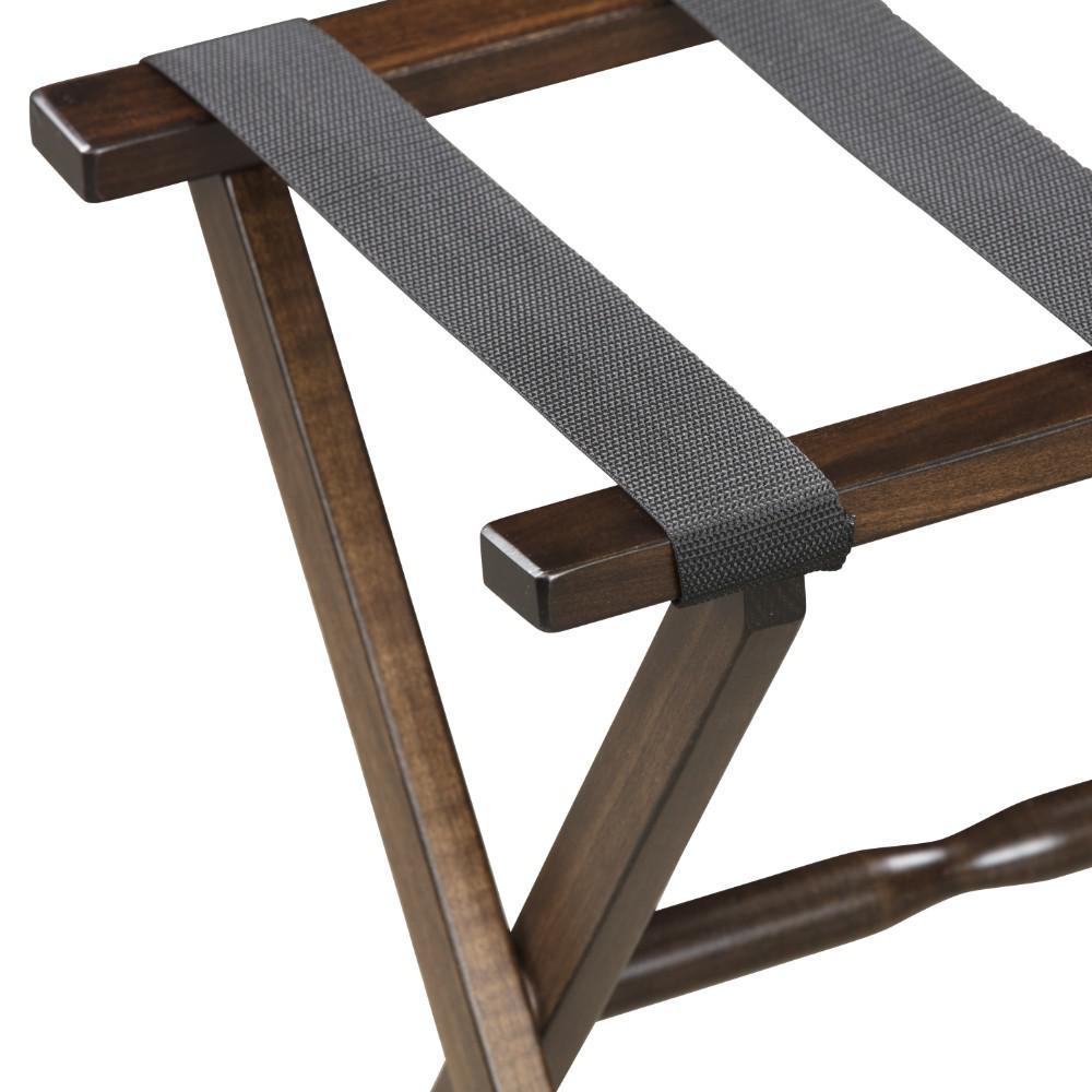 Hotel Dark Walnut Finish Wood Folding Luggage Rack with Tan Straps - 383081. Picture 2