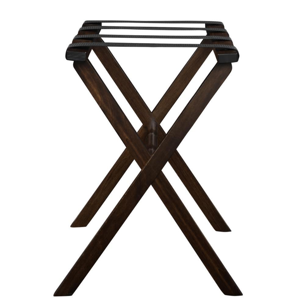 Hotel Dark Walnut Finish Wood Folding Luggage Rack with Tan Straps - 383081. Picture 3