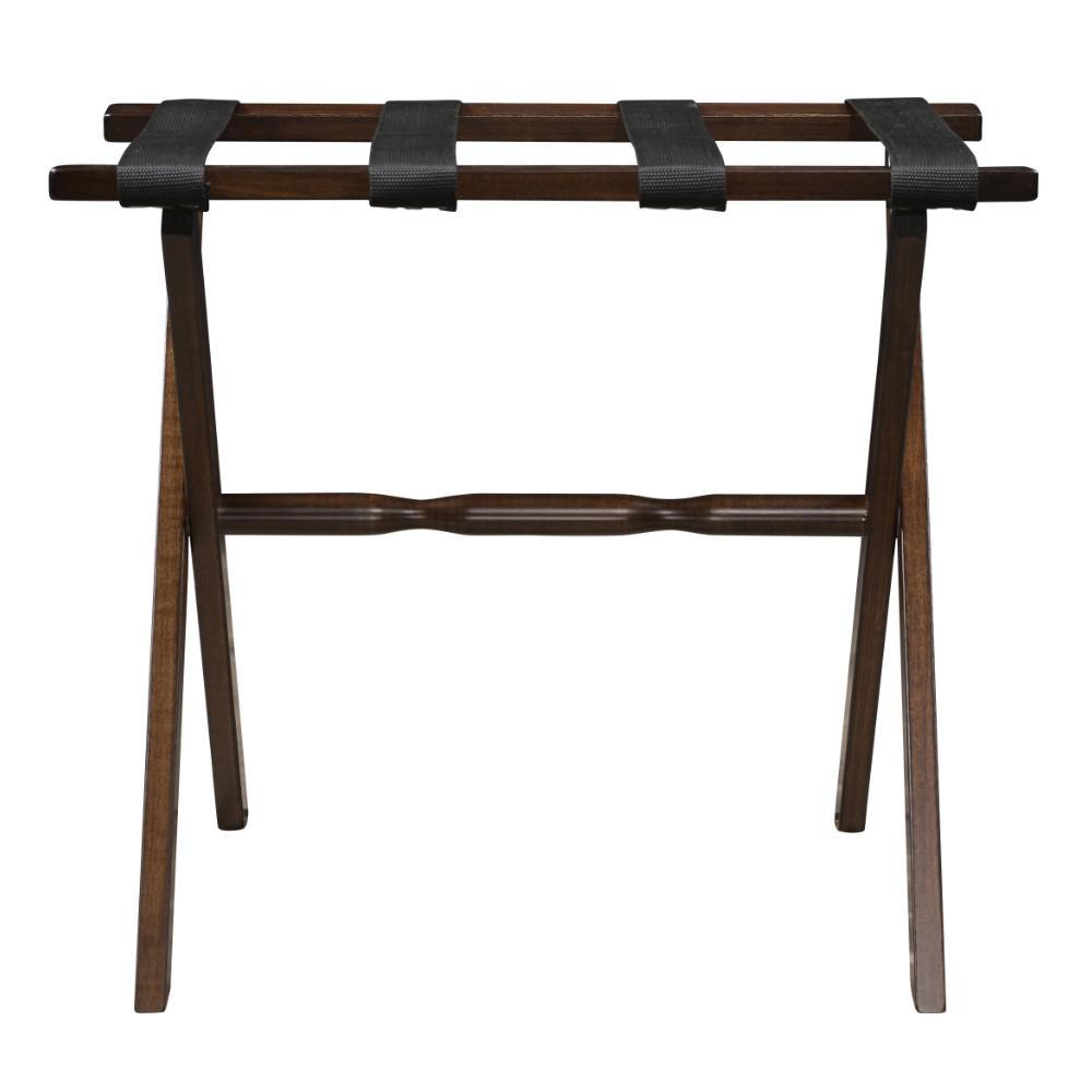 Hotel Dark Walnut Finish Wood Folding Luggage Rack with Tan Straps - 383081. Picture 4