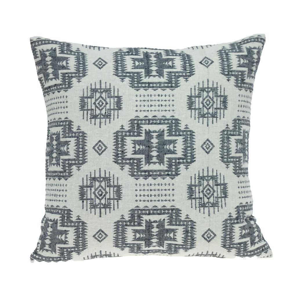 Gray Aztec Design Throw Pillow - 383091. Picture 1
