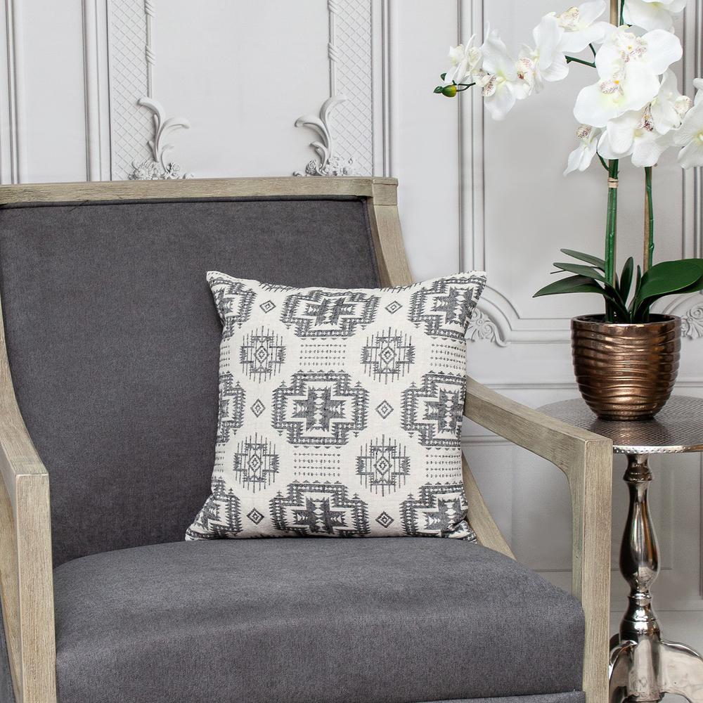 Gray Aztec Design Throw Pillow - 383091. Picture 2