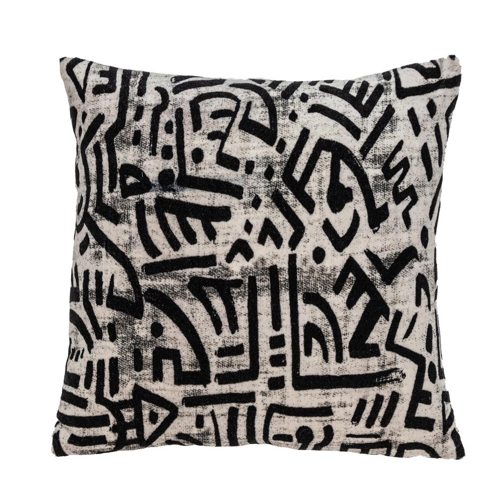 Black and White Abstract Velvet Throw Pillow - 383092. Picture 1