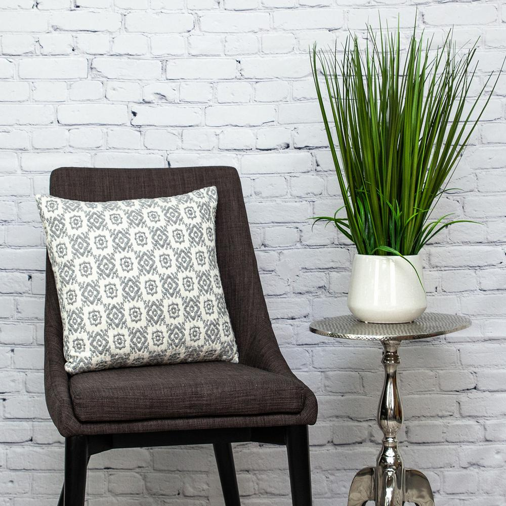 Neutral Grey Mosaic Throw Pillow - 383098. Picture 2
