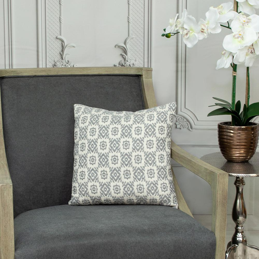 Neutral Grey Mosaic Throw Pillow - 383098. Picture 7