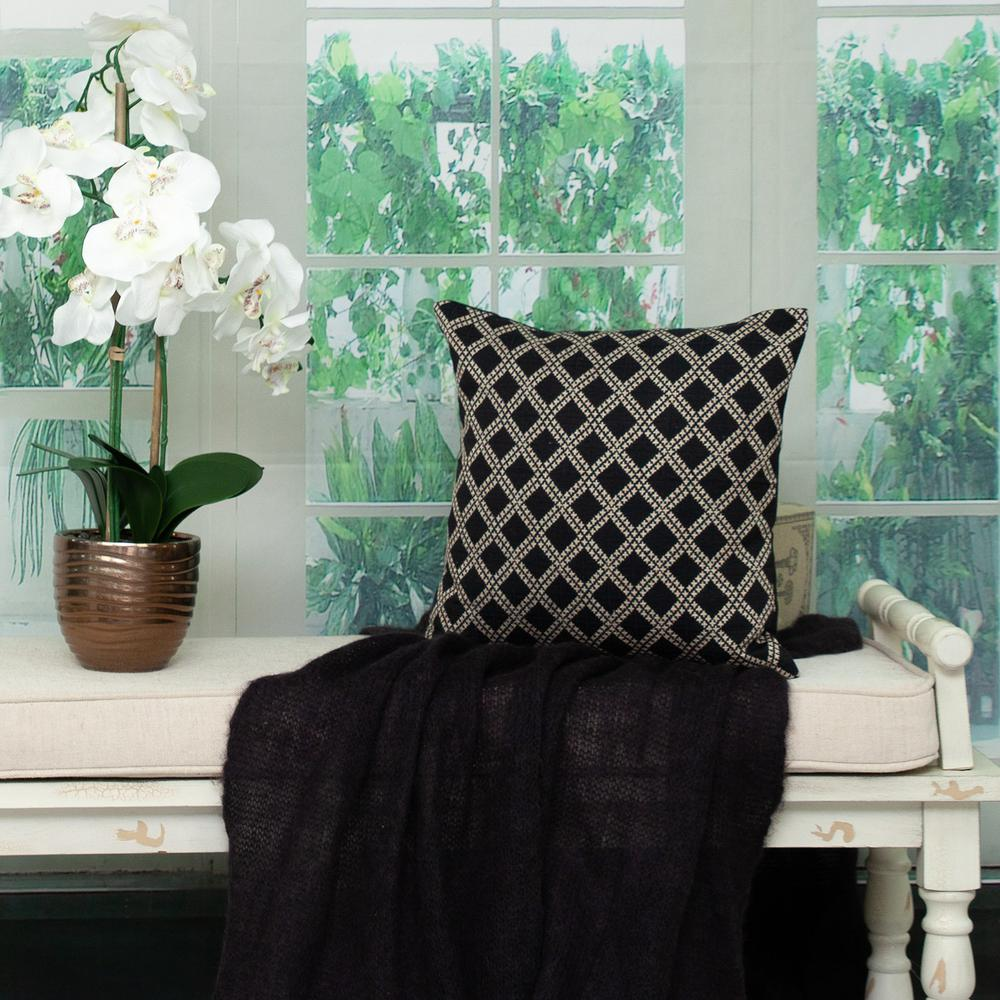 Charcoal Diamond Throw Pillow - 383099. Picture 2