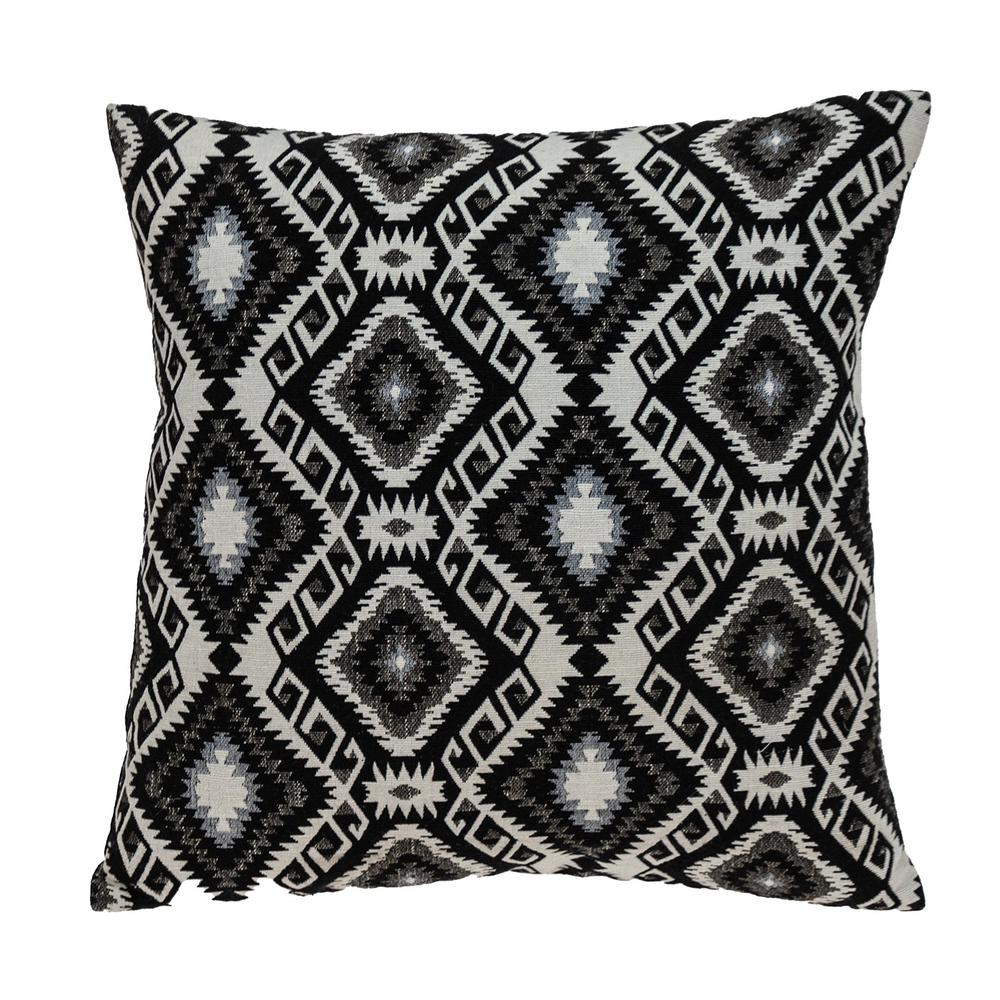 Jet Black and White Geo Throw Pillow - 383100. Picture 1