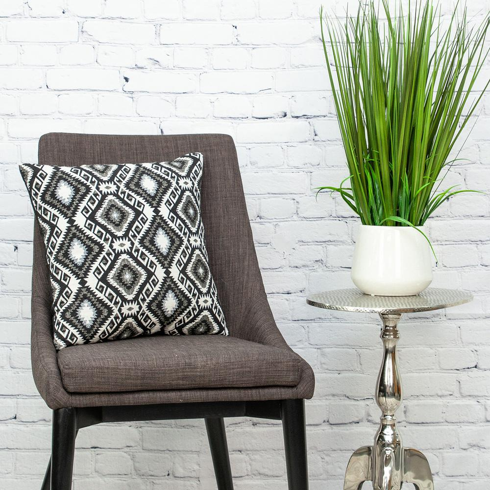 Jet Black and White Geo Throw Pillow - 383100. Picture 2