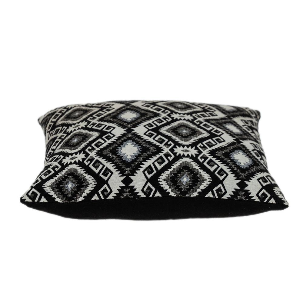 Jet Black and White Geo Throw Pillow - 383100. Picture 4