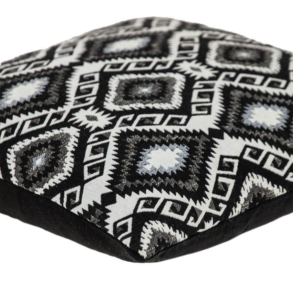 Jet Black and White Geo Throw Pillow - 383100. Picture 5
