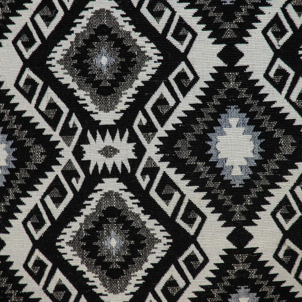 Jet Black and White Geo Throw Pillow - 383100. Picture 6