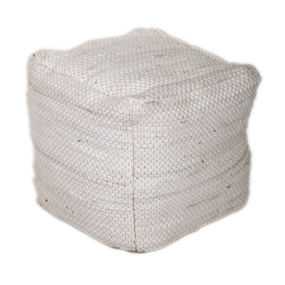 Chic Chunky White Textured Pouf - 383105. Picture 1