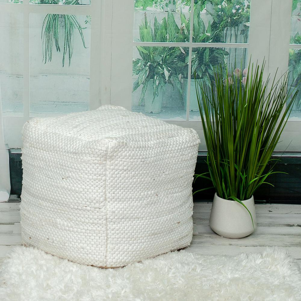 Chic Chunky White Textured Pouf - 383105. Picture 2