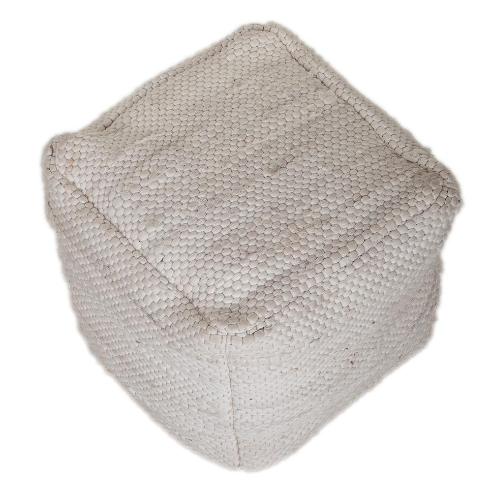 Chic Chunky White Textured Pouf - 383105. Picture 3