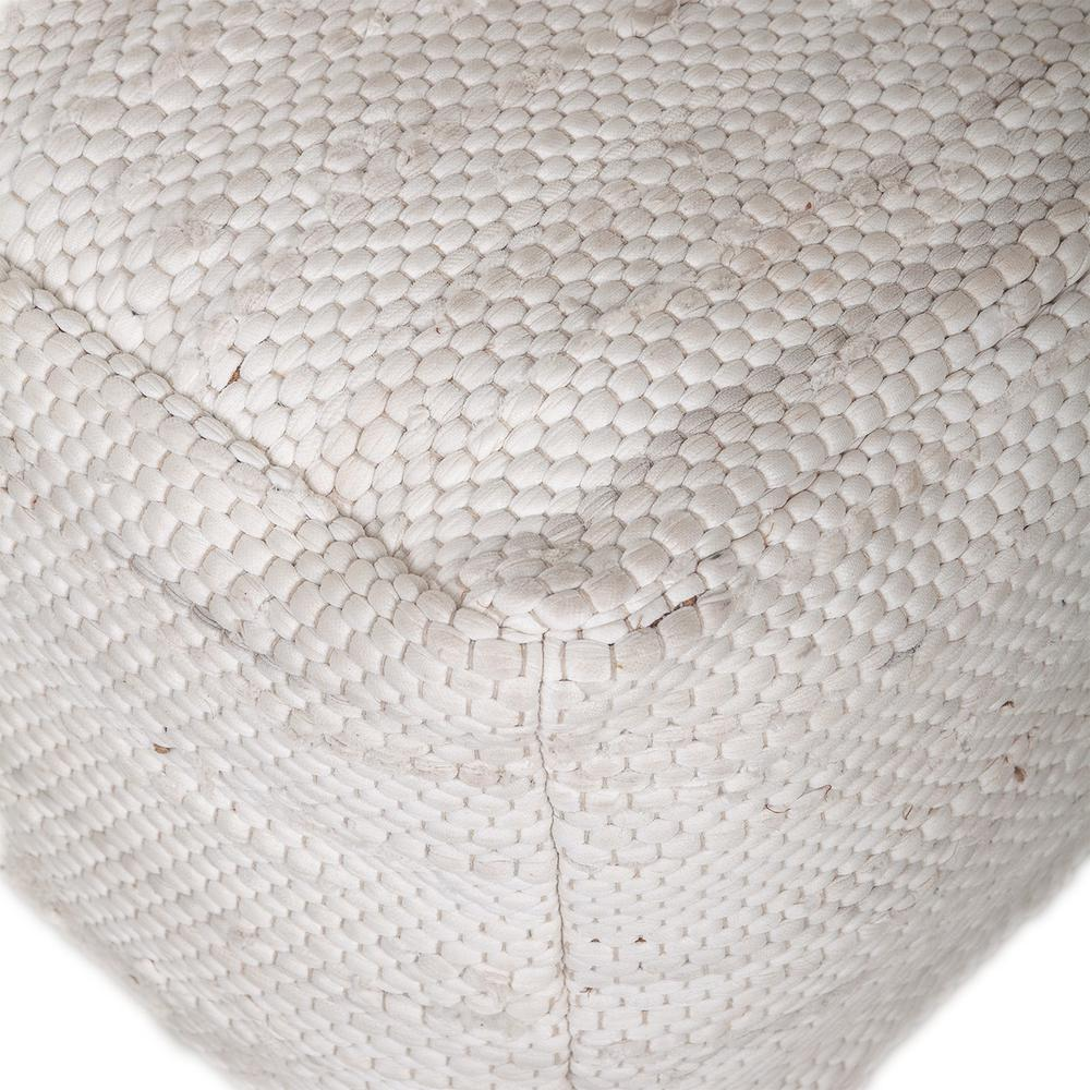 Chic Chunky White Textured Pouf - 383105. Picture 4