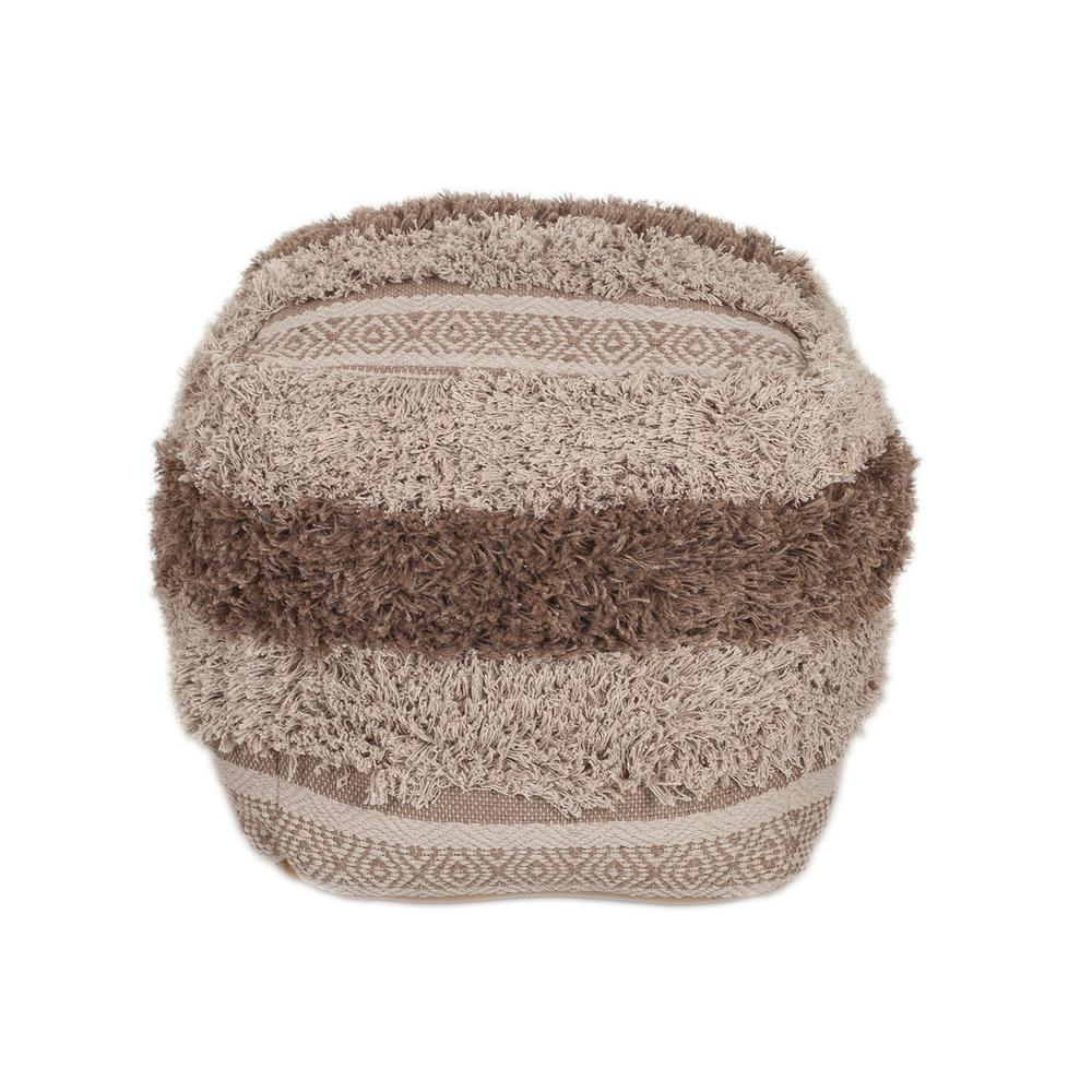 Boho Shaggy Khaki Textured Pouf - 383106. Picture 1