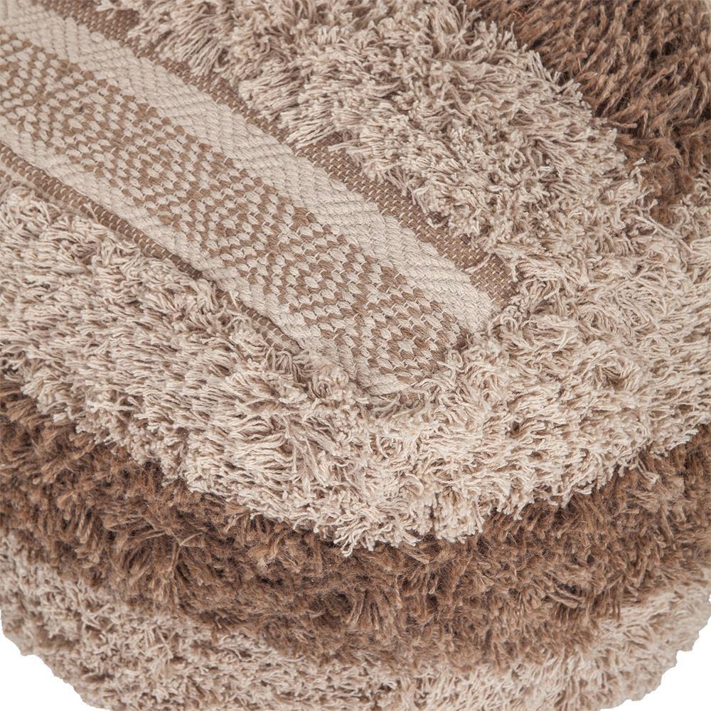 Boho Shaggy Khaki Textured Pouf - 383106. Picture 4