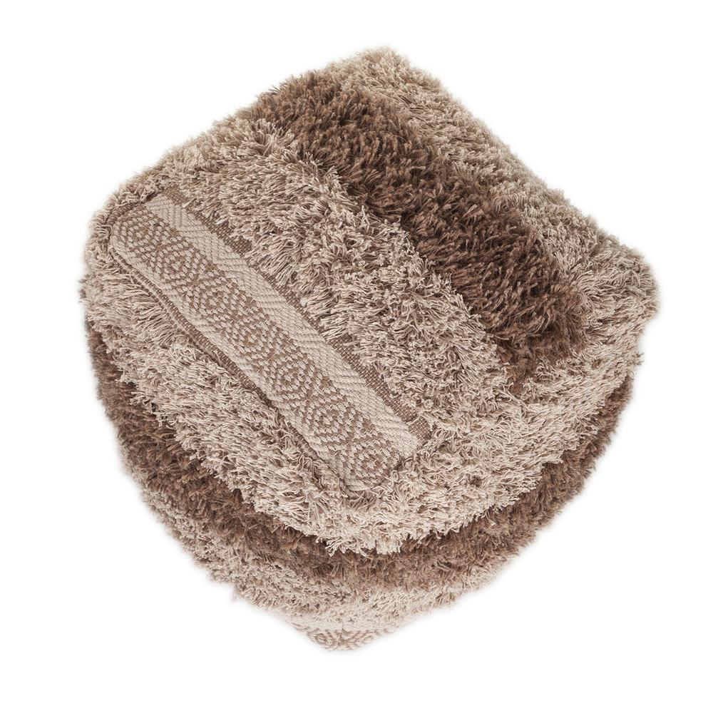 Boho Shaggy Khaki Textured Pouf - 383106. Picture 5