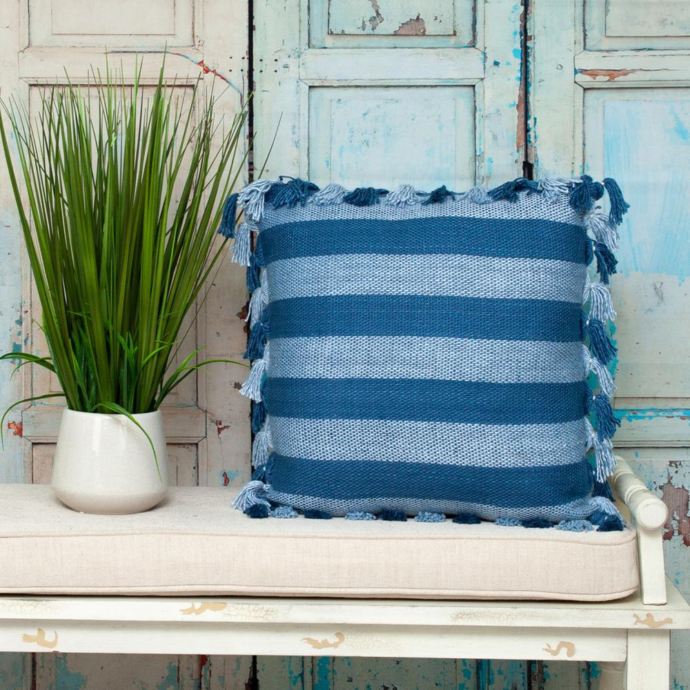Rustic Bohemian Blue Throw Pillow - 383111. Picture 2