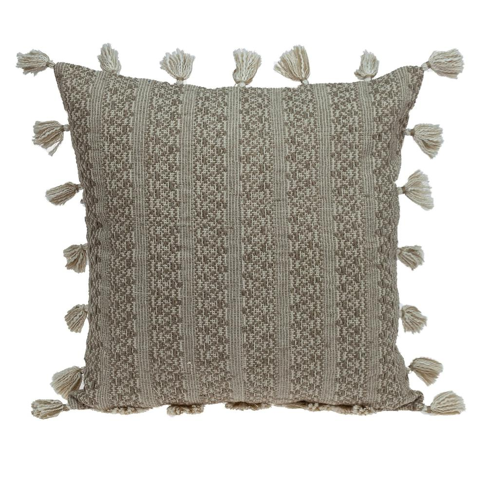 Neutral Sand Woven Throw Pillow - 383113. Picture 1