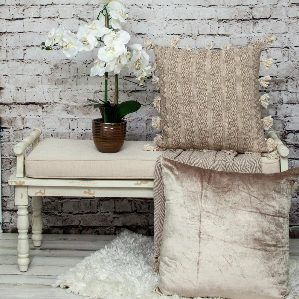 Neutral Sand Woven Throw Pillow - 383113. Picture 2