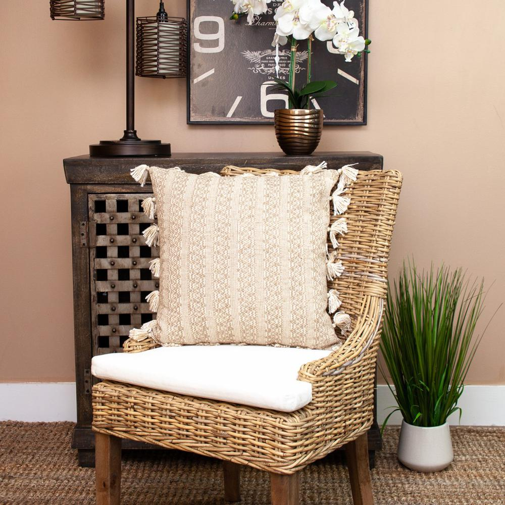 Neutral Sand Woven Throw Pillow - 383113. Picture 7