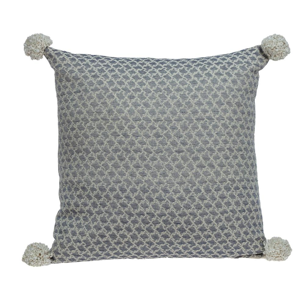 Gray Pearl Pom Throw Pillow - 383115. Picture 1