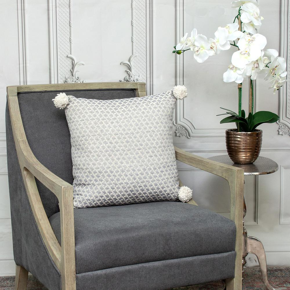 Gray Pearl Pom Throw Pillow - 383115. Picture 7