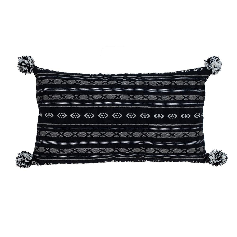 Black and Gray X Pom Throw Pillow - 383125. Picture 1