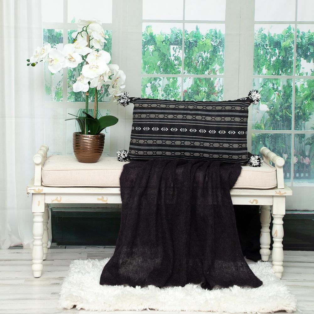Black and Gray X Pom Throw Pillow - 383125. Picture 2