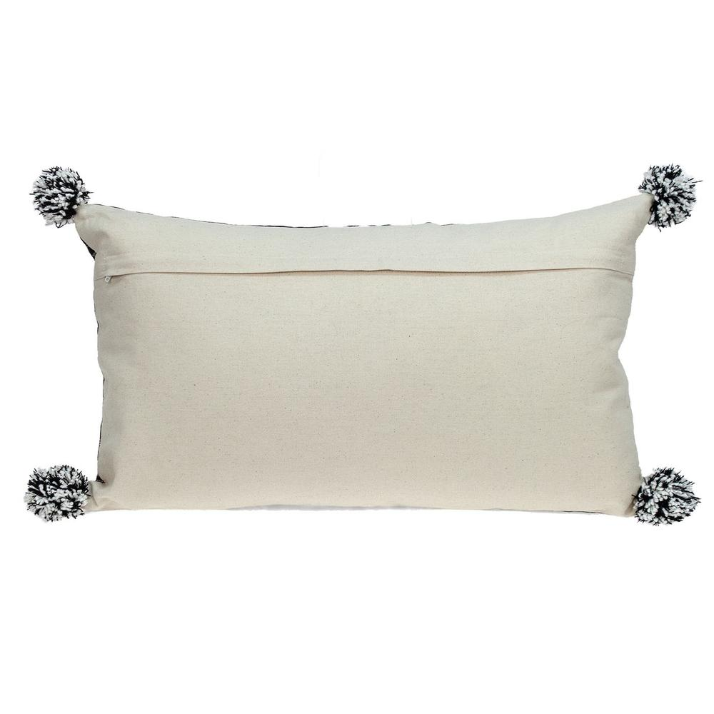 Black and Gray X Pom Throw Pillow - 383125. Picture 3